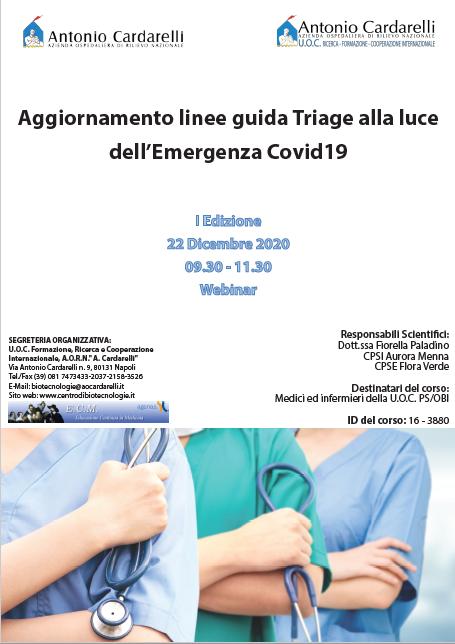 Corso WEBINAR - Aggiornamento linee guida Triage alla luce dell'Emergenza Covid19 - ISCRIZIONI CHIUSE -