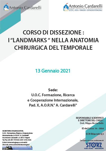 """Corso RES - CORSO DI DISSEZIONE : I """"LANDMARKS """" NELLA ANATOMIA CHIRURGICA DEL TEMPORALE - ISCRIZIONI CHIUSE"""