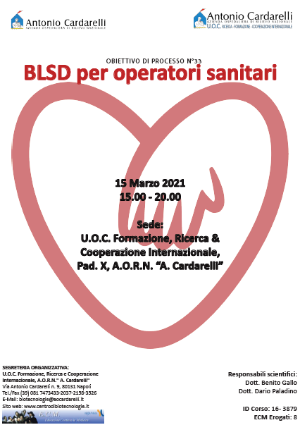 Corso RES - BLSD per operatori sanitari Ed.15 Marzo - ISCRIZIONI CHIUSE -