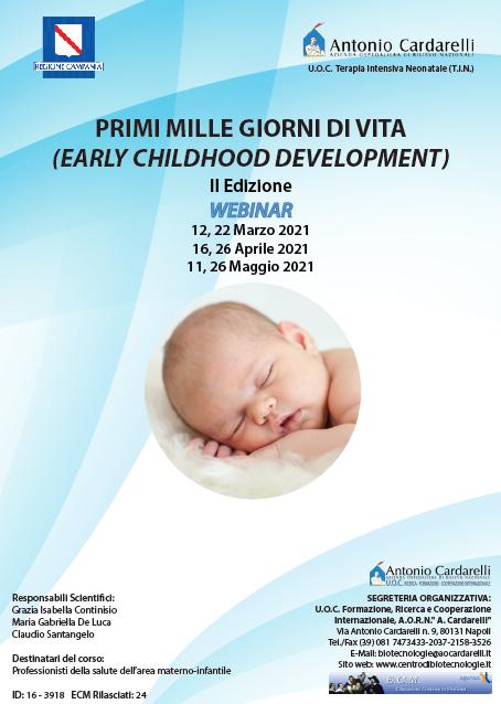 WEBINAR - PRIMI MILLE GIORNI DI VITA (EARLY CHILDHOOD DEVELOPMENT) II Ed. - ISCRIZIONI CHIUSE -