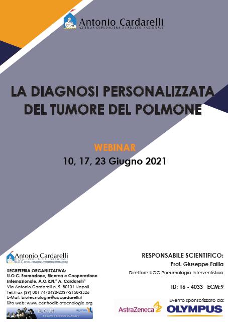 WEBINAR - LA DIAGNOSI PERSONALIZZATA DEL TUMORE DEL POLMONE - ISCRIZIONI CHIUSE -
