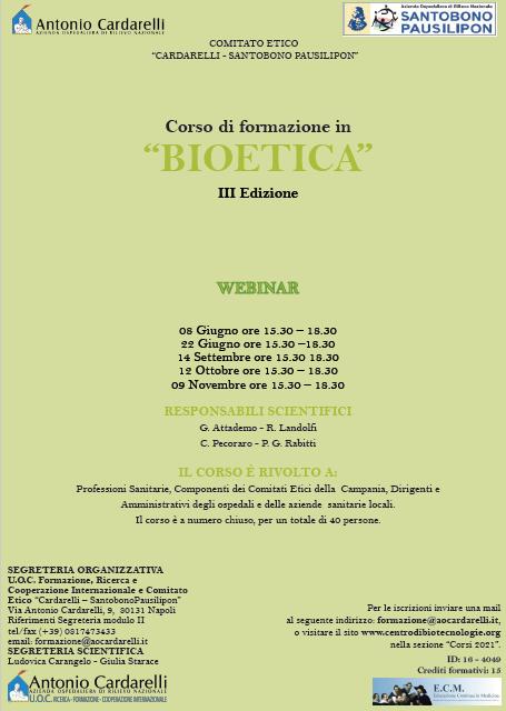 """WEBINAR - Corso di formazione in """"BIOETICA"""" - III Ed. - ISCRIZIONI CHIUSE -"""