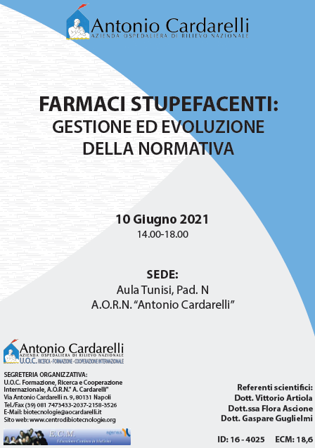 Corso RES - FARMACI STUPEFACENTI: GESTIONE ED EVOLUZIONE DELLA NORMATIVA 10 Giu- ISCRIZIONI CHIUSE -