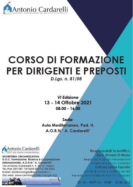 Corso RES – CORSO DI FORMAZIONE PER DIRIGENTI E PREPOSTI D.Lgs. n. 81/08 – VI Edizione – ISCRIZIONI APERTE –