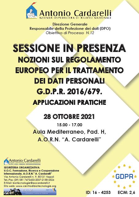 Corso RES - NOZIONI SUL REGOLAMENTO EUROPEO PER IL TRATTAMENTO DEI DATI PERSONALI G.D.P.R. 2016/679. APPLICAZIONI PRATICHE - SESSIONE IN PRESENZA - ISCRIZIONI APERTE -